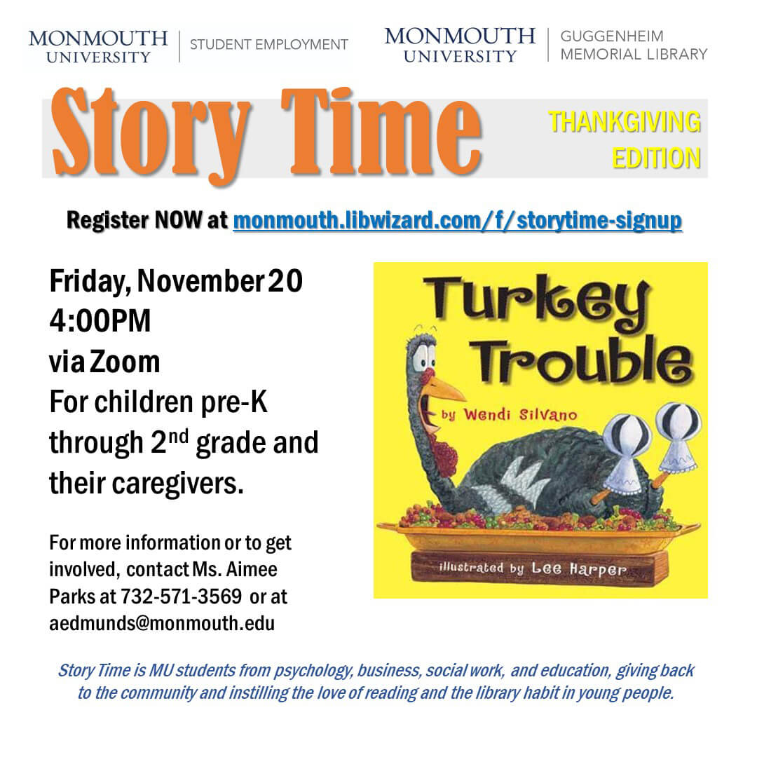 Photo Image of Story Time Event for Nov. 20, 2020 at Monmouth University Library