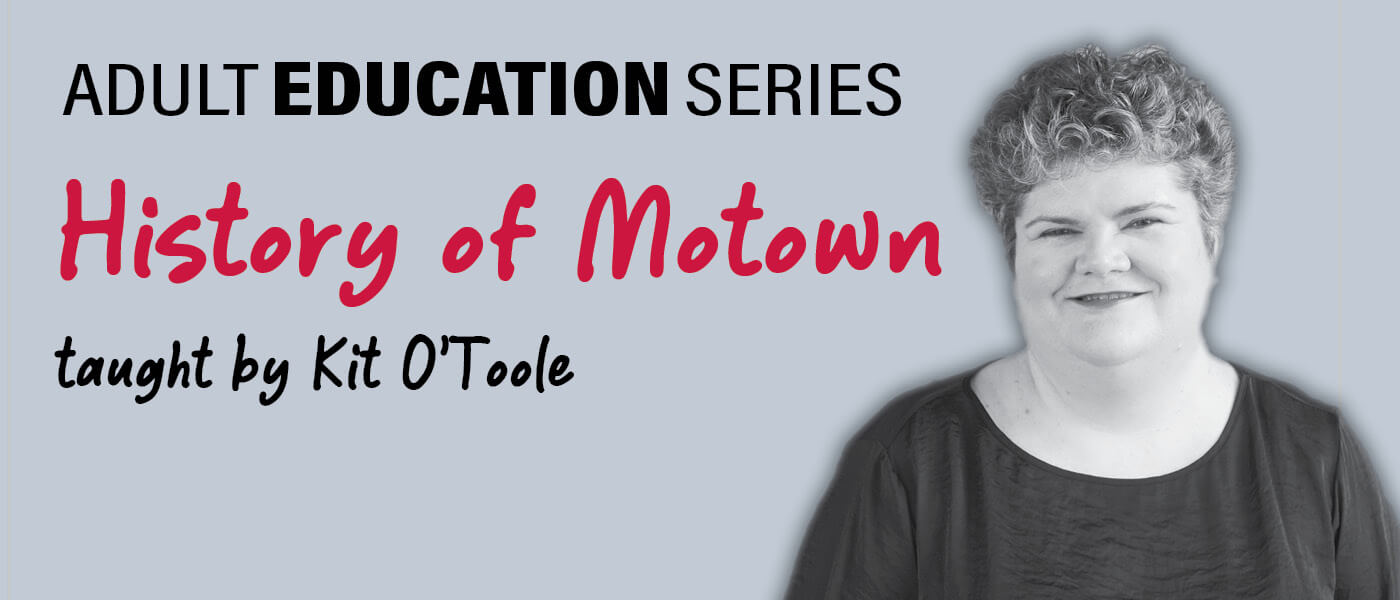 Photo of Kit O'Toole who is teaching History of Motown for the Adult Education Series
