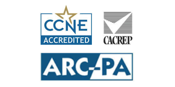 logos from CCNE, CACREP, and ARC-PA