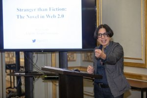 Photo of Dr. Priya Joshi presenting her 2019 Ink and Electric lecture sponsored by the Council of Endowed Chairs