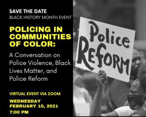 Click image to view and download flyer for Policing in Communities of Color event sponsored by BADFU at Monmouth University