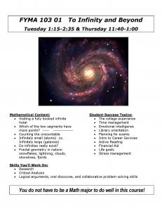 Please click image to read and download the flyer for this course titled To Infinity and Beyond