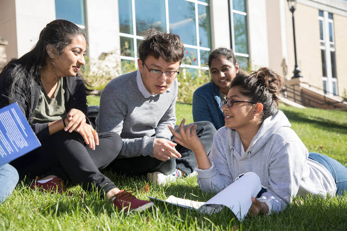 Students studying together on the lawn of the campus