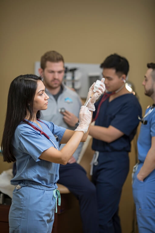 Physician assistant practicing techniques