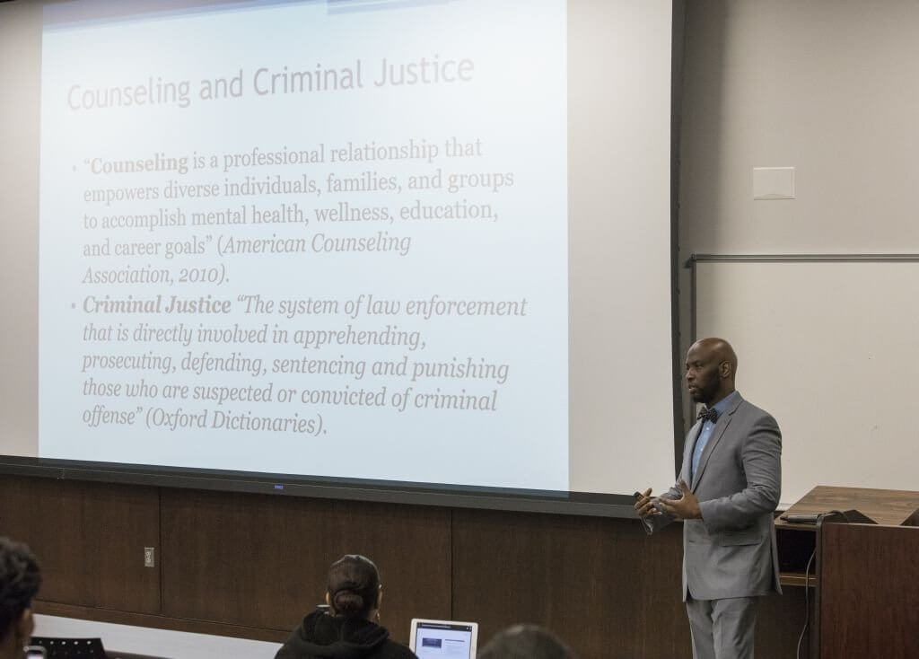 Photo of presentation titled Counseling and Criminal Justice