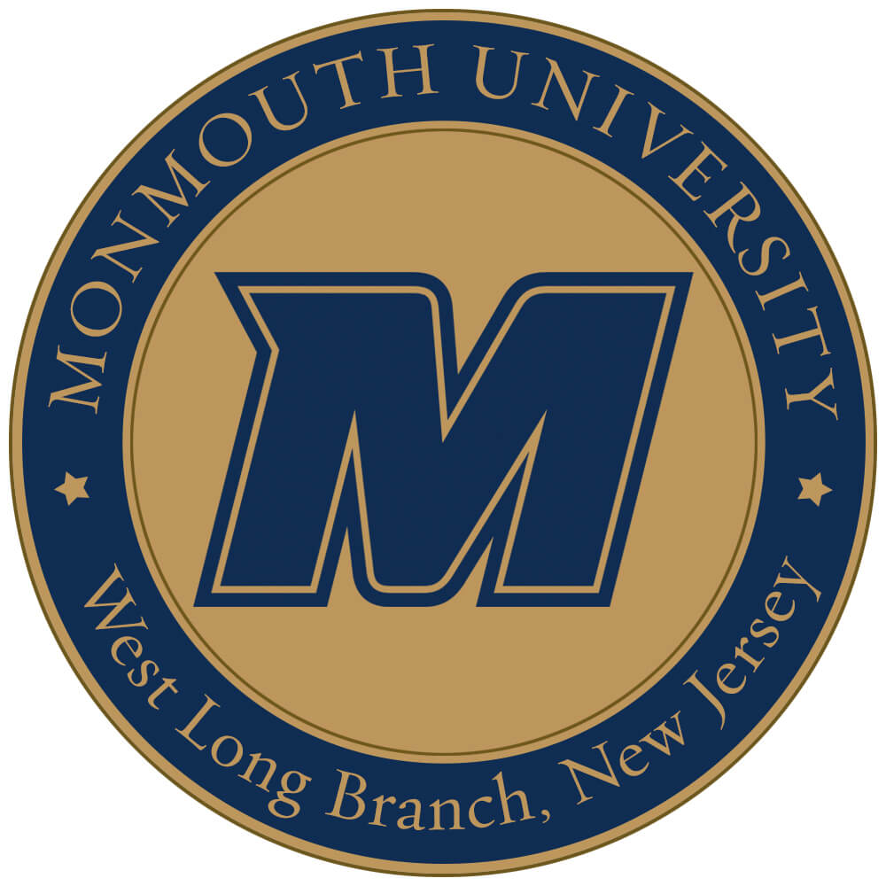 """A medal with the Monmouth Spirit logo. Reads """"Monmouth University, West Long Branch, New Jersey"""""""