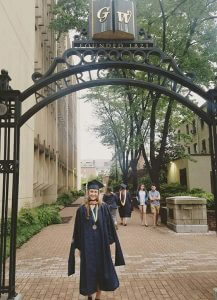 Photo of Katelyn White at graduation from George Washington University in 2018 with a Master of Public Health