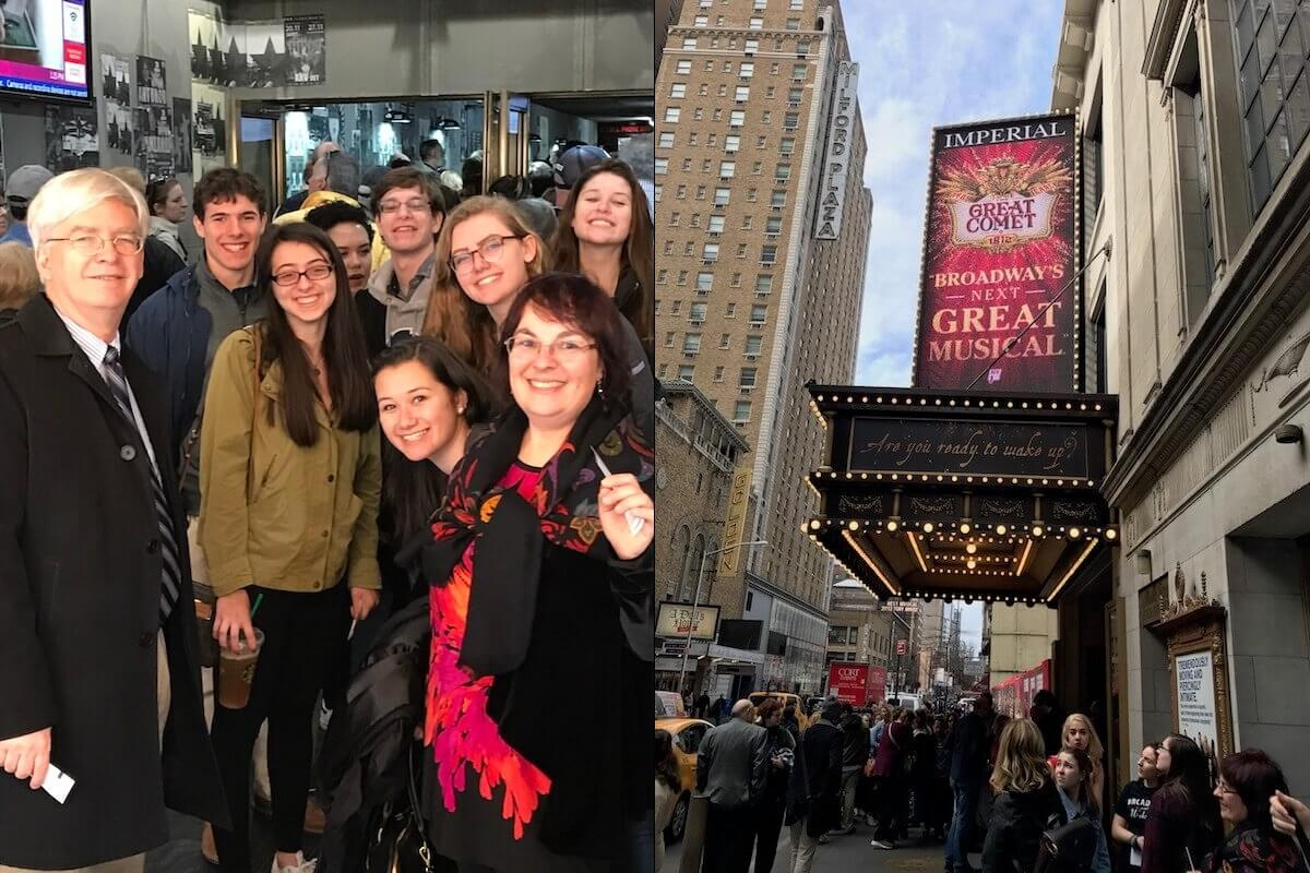 Honors students and faculty inside the theater for Natashe, Pierre & THE GREAT COMET of 1812