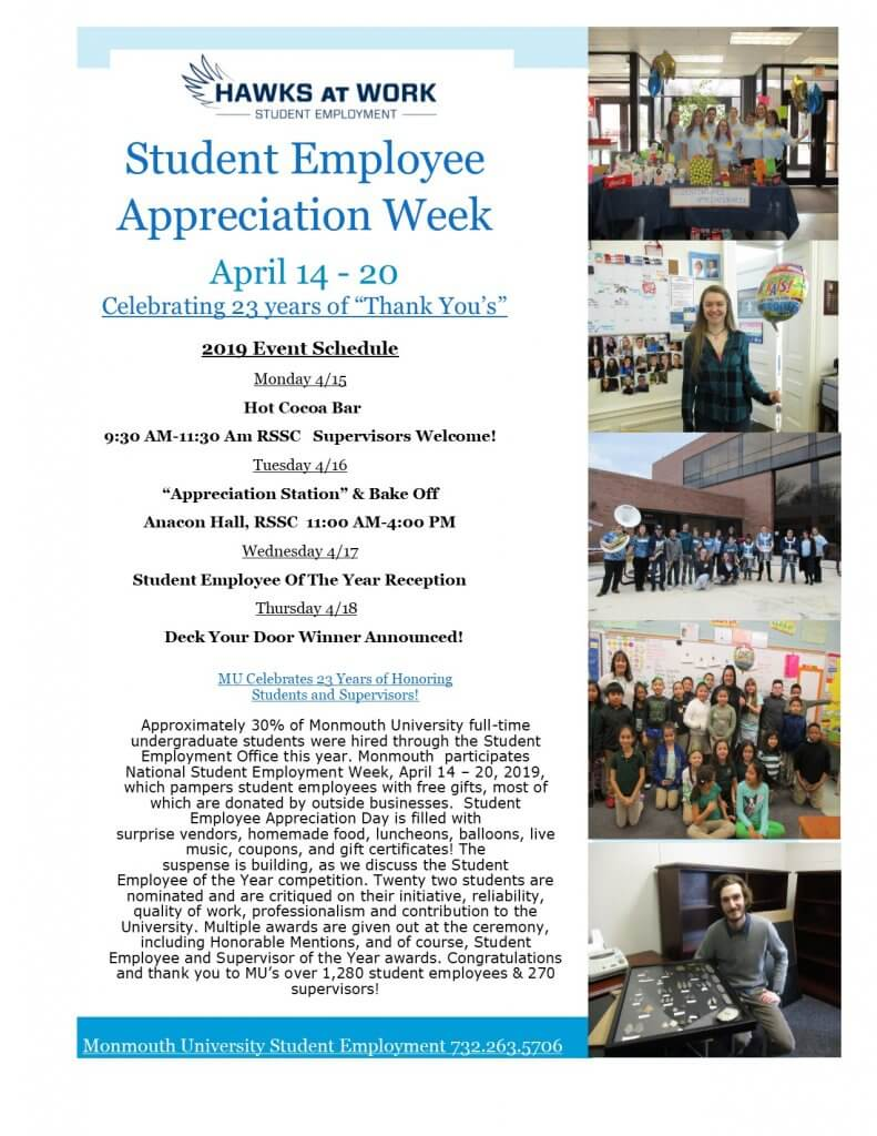 Image of 2019 Student Employee Appreciation Week events at Monmouth University - Click for larger image
