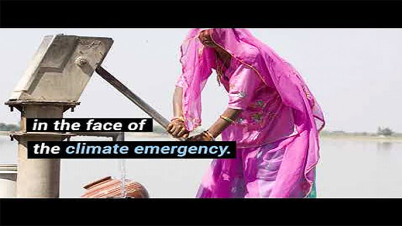 """Screenshot of video states """"in the face of the climate emergency"""""""