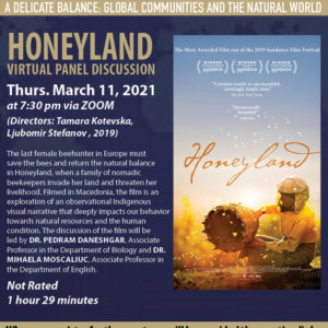 Photo image of flyer for Honeyland film screening and virtual discussion