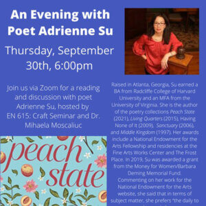 Photo image of event flyer for An Evening with Poet Adrienne Su, September 30, 2021 - click or tap to view and download flyer