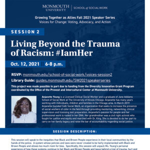 Photo image of flyer for Voices of Change session, Living Beyond the Trauma of Racism - click or tap image to view and download event flyer