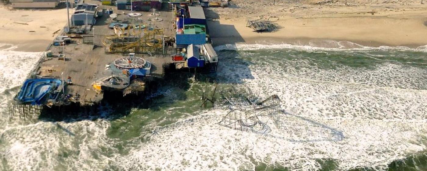 The shore boardwalk after hurricane Sandy