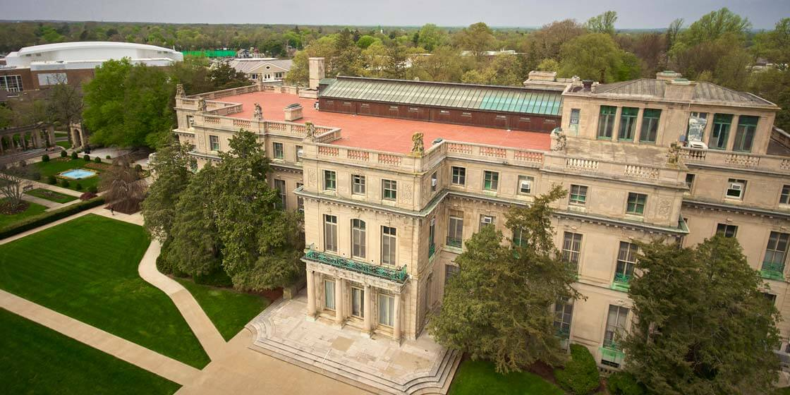 An aerial view of Wilson Hall