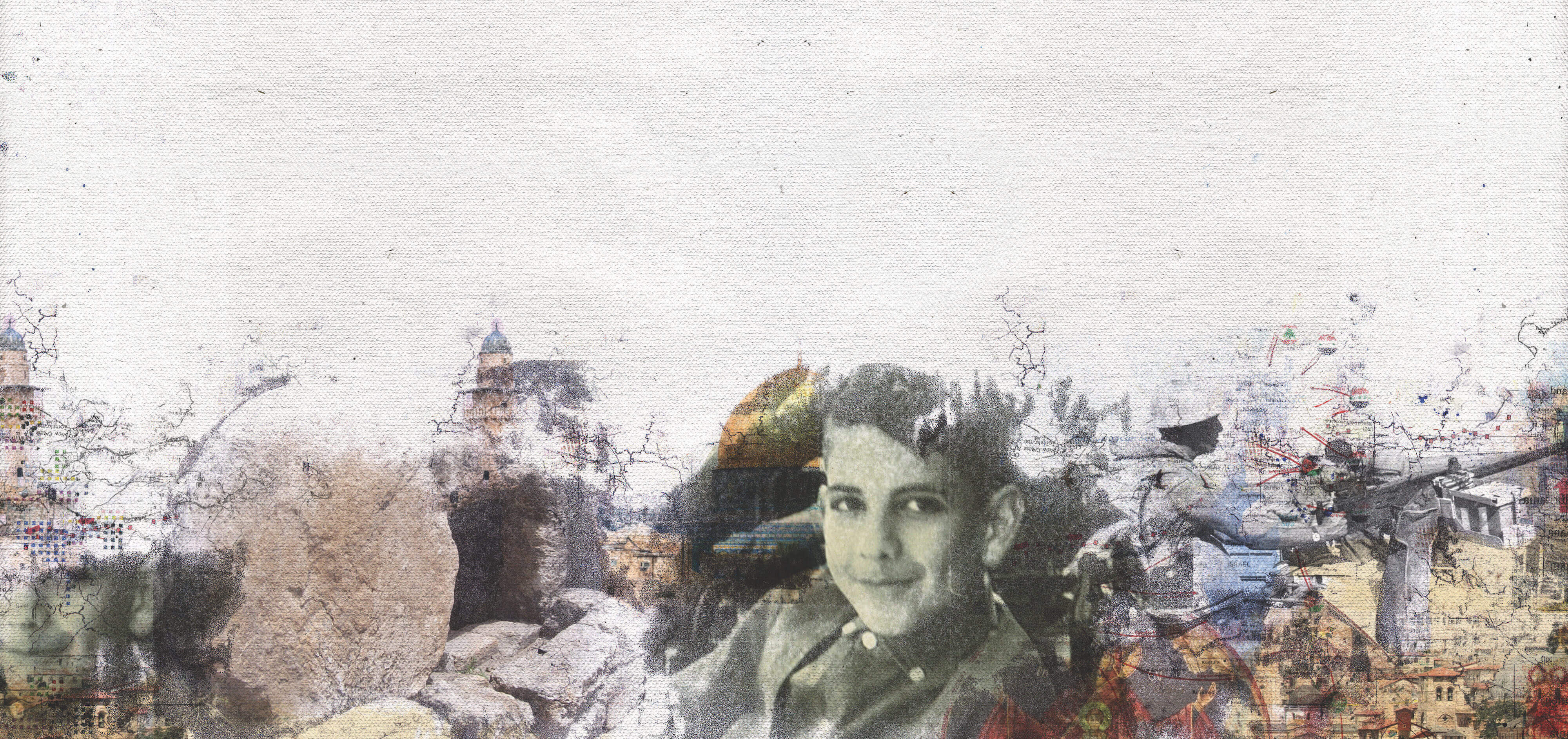 Collage of images evocative of Saliba Sarsar's life.