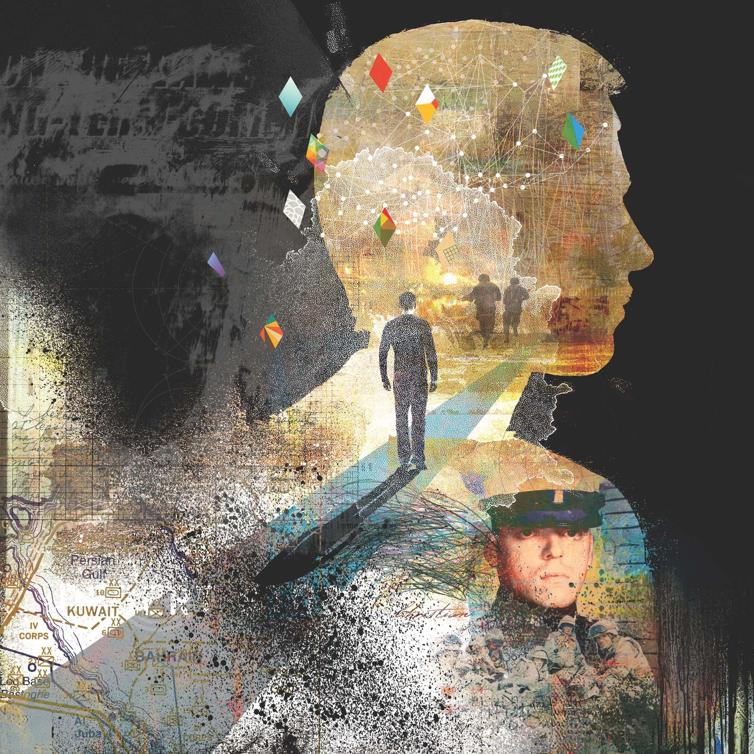An illustration depicting the inner-turmoil of a soldier with PTSD