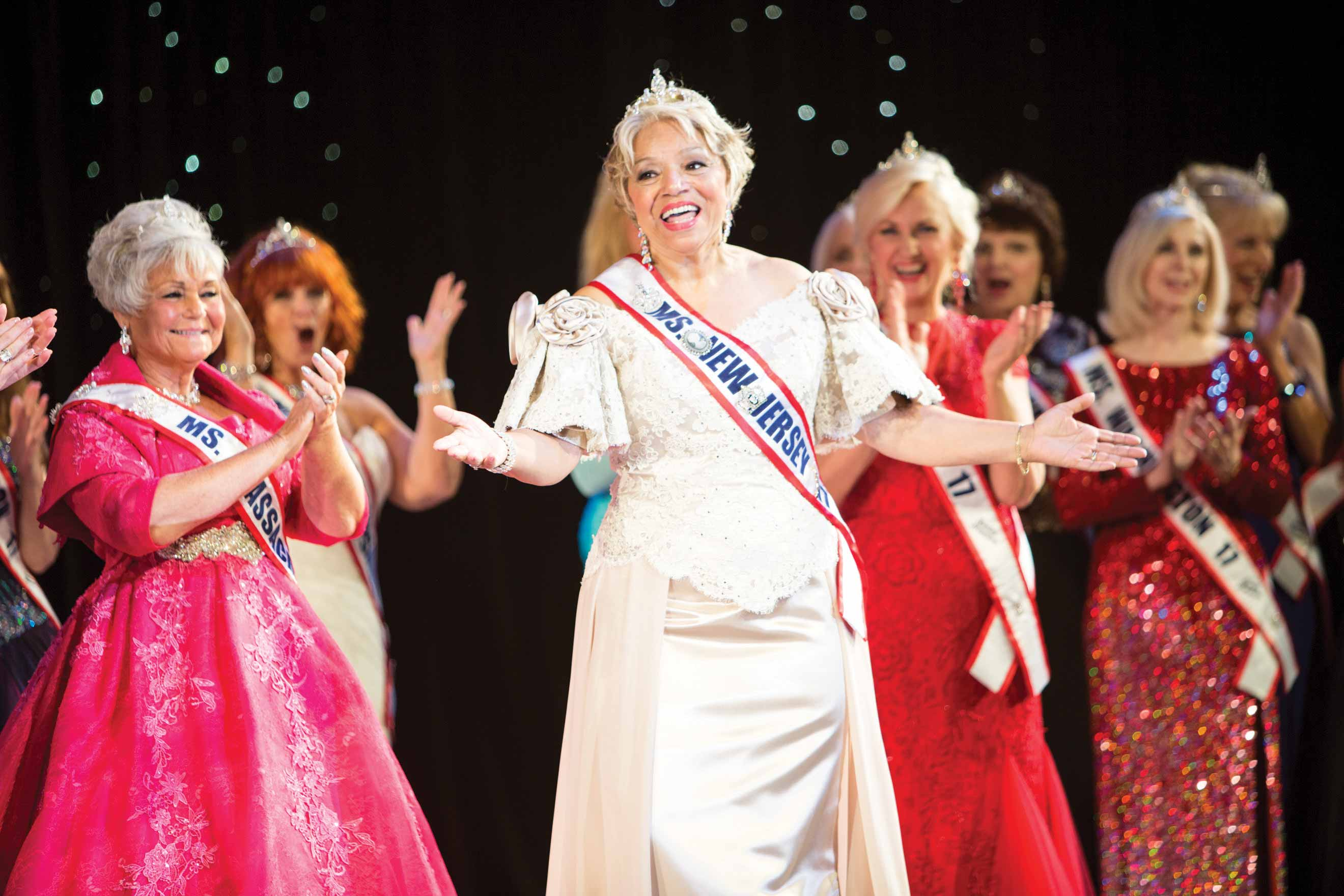 Photograph of contestants at Ms. Senior America Pageant