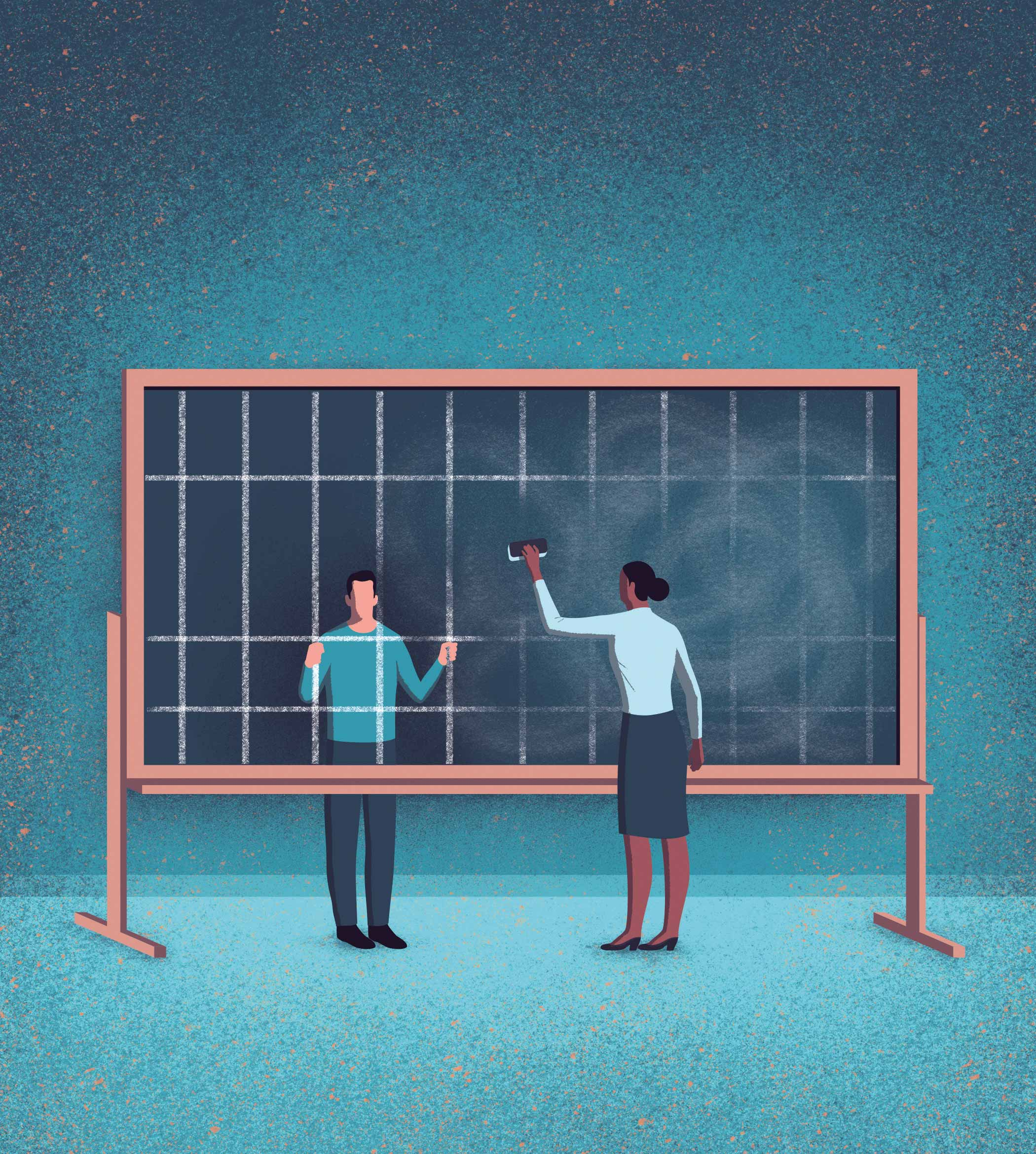 An illustration of a blackboard displaying chalk etchings of jail bars. A man behind the chalkboard peers through the bars, imprisoned, while a woman holding a chalkboard eraser removes the bars.