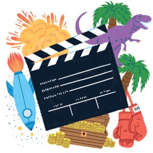 A clapperboard in front of a rocket ship, a t-rex, an explosion, two palm trees, and a pair of boxing gloves