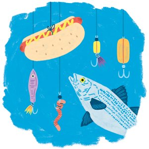 A fish swimming past hooks and baits toward a hot dog on a string