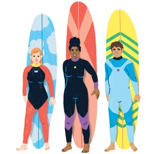Three surfers leaning in front of their boards