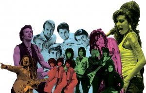 A montage of artists from this issue's playlist, including Bruce Springsteen, Bob Marley, and Martha and the Vandellas