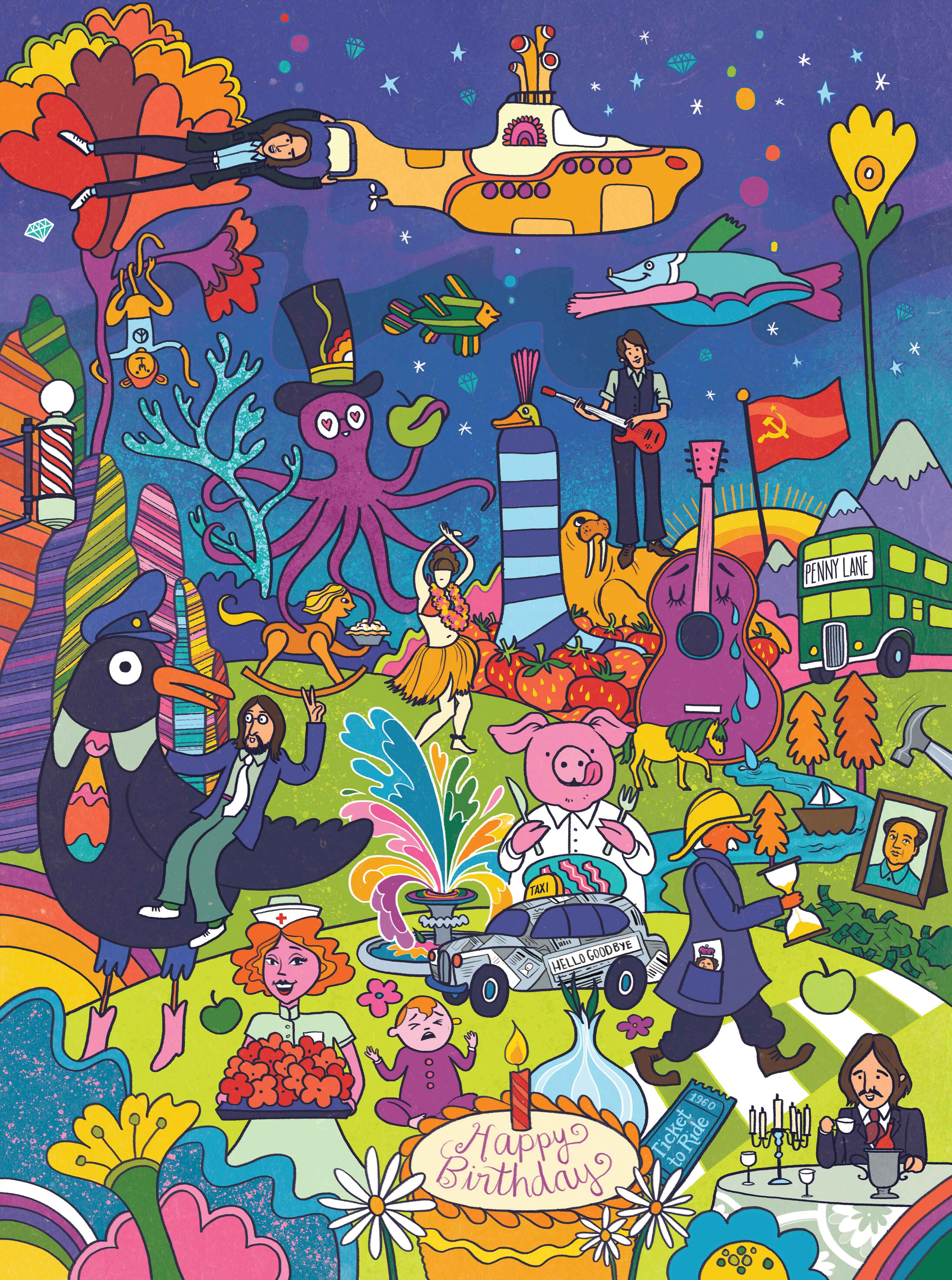 A psychodelic drawing of many of the beatles iconic characters from their songs.