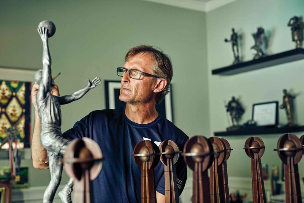 Brian Hanlon '88 works in his home studio space.