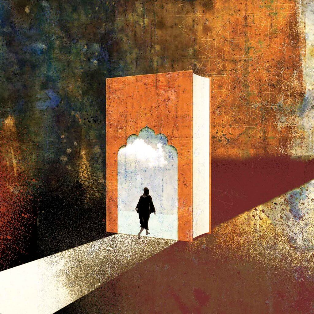 Illustration depicting a woman in a hijab walking into a book