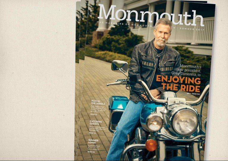 A Stack of the Summer 2017 Issue of Monmouth Magazine, with President Grey Dimenna featured on the cover