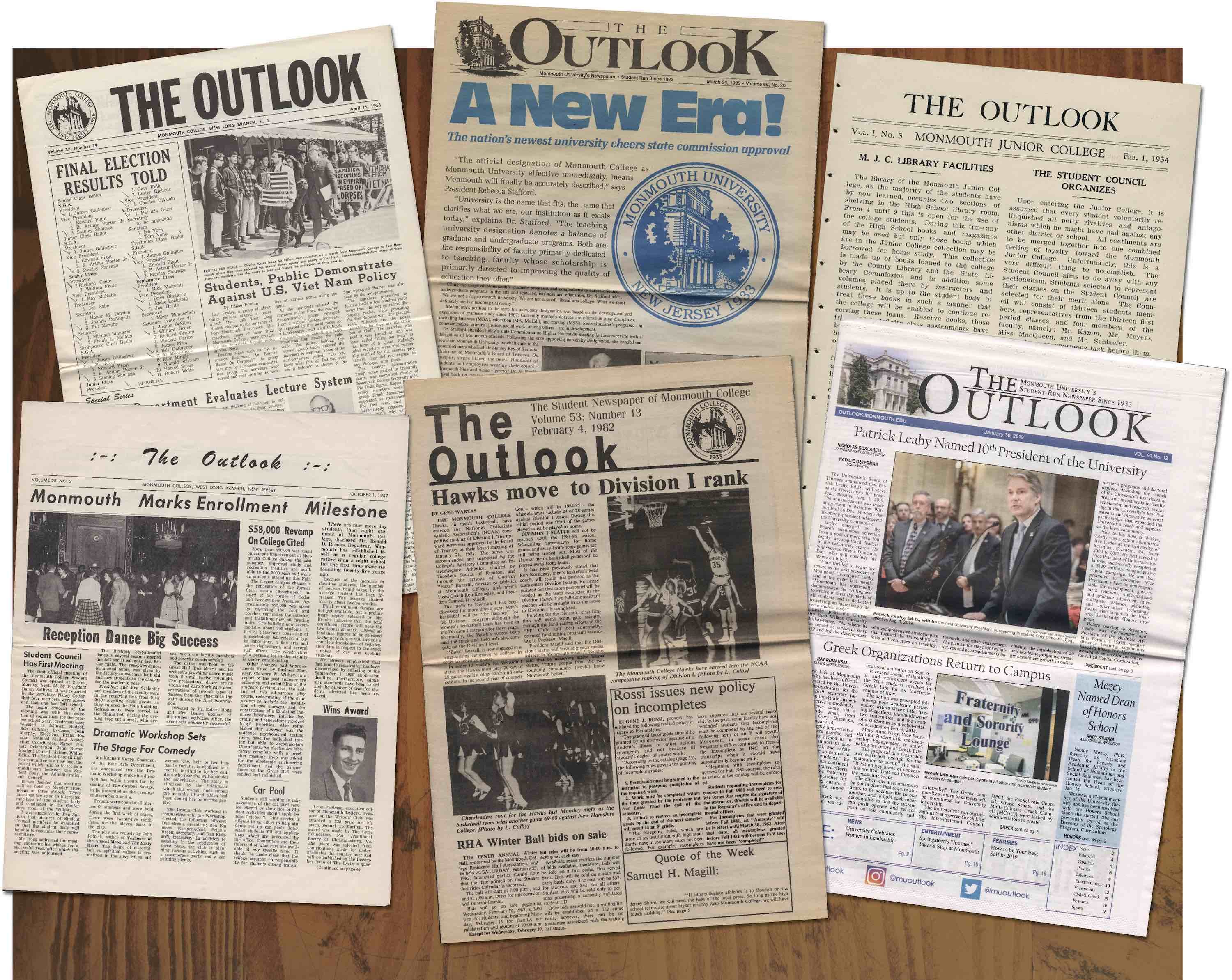 Collage of Outlook issues spanning different decades