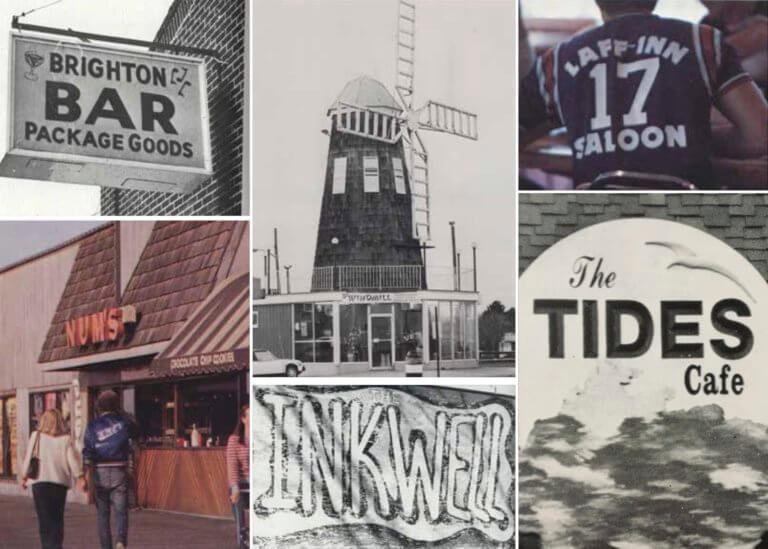A collage featuring various hangouts on or near Monmouth's campus, like Brighton Bar, Num's, Windmill, Inkwell, Laff-Inn Saloon and The Tides Cafe