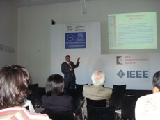Photo of Prof. Obaidat giving his keynote speech of IEEE NGMAST 2011.