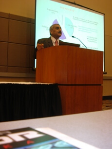 Photo shows Prof. Obaidat giving his keynote speech of the State of Nebraska's NRNC 2011 Conference.