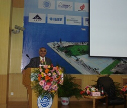 Photo shows Prof. Obaidat, general chair of IEEE iThings 2011 Conference, giving the opening remarks of conference.