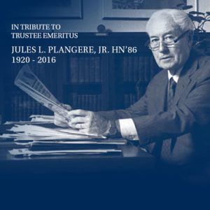 Monmouth University Mourns the Passing of Jules L. Plangere, Jr. HN '86