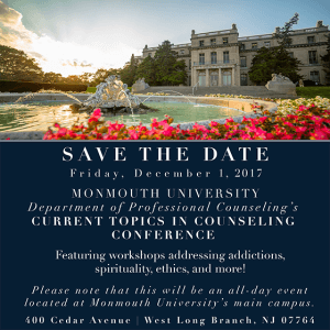 Professional Counseling Department at Monmouth University to Offer 'Current Topics in Counseling' Conference