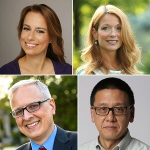 Photo shows individual headshots of (clockwise from top) Julie Roginsky; Jeanette Hoffman; David Chen; and Patrick Murray