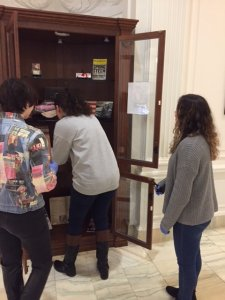 Monmouth students work at the Guggenheim Library to curate an upcoming Bruce Springsteen exhibit.