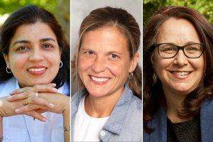 Individual headshot photos (left to right) Rekha Datta, Johanna Foster, and Katherine Parkin