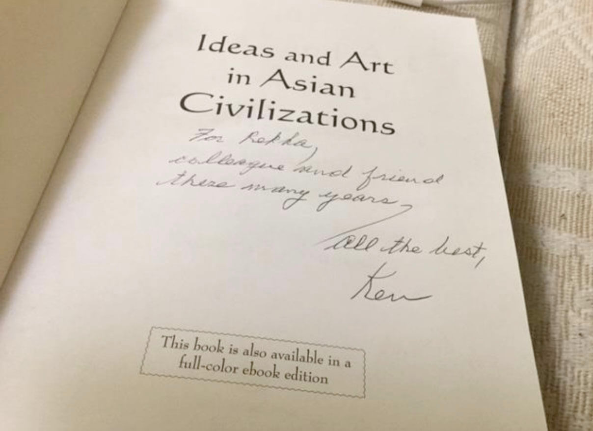 The book, Ideas and Art in Asians Civilizations signed by the author