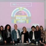 Photo of Professor Joe Rapolla with students at Liceo Cevolani, secondary school, in Cento, Italy