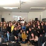Professor Joe Rapolla with Students at Liceo Cevolani, secondary school, in Cento, Italy