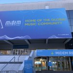 Photo shows entrance to convention center hosting Midem music industry event in France