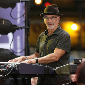 A photo of Roy Bittan looking at the camera while playing keybard at a concert.