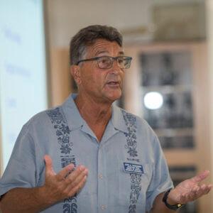 Asst. Dean Tiedemann explains the knobbed whelkthe