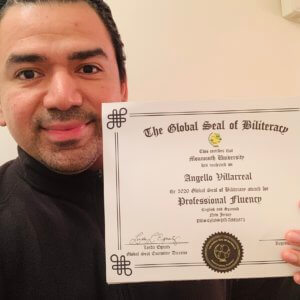 Villareal displays his Global Biliteracy Award