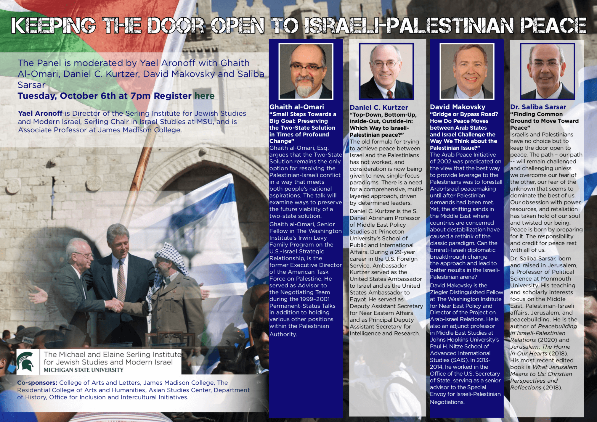 """Flyer image for panel discussion, """"Keeping the Door Open to Israeli-Palestinian Peace,"""" at Michigan State University on Oct. 6"""