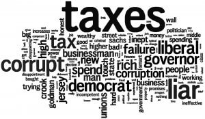 Images Shows Word Cloud from Voters for Jon Corzine